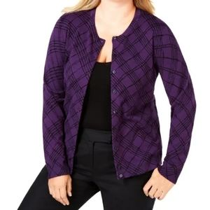 Plus Size 2X Purple and Black Jersey Cardigan NWT